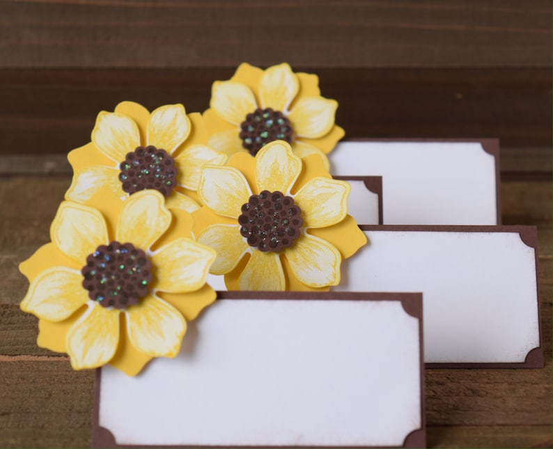 Sunflower Place Card Holders Sunflower Party Decor Sunflower Food Tent Labels