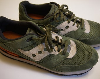 the latest 29649 fee21 Saucony Courageous Premium green suede trainer running shoe 11.5 retro  hipster