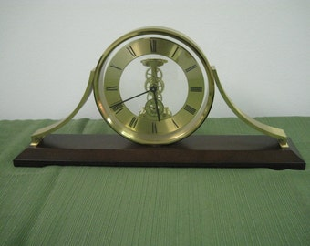 Hamilton Gold with dark wood mantle clock made in Germany