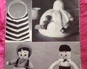 1950s Vintage Knitting Pattern Booklet for Bed Jacket, Bag, Tea Cosy & Toys.