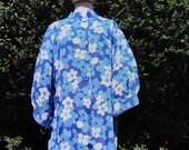Vintage 1960s Blue Floral...