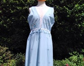 Vintage c. 1950s handmade cotton nightie, nightgown, night dress. Pale blue with embroidered flowers & ribbon. Nightwear, loungewear, dress