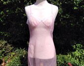 Vintage 1960s, 1970s Pale Pink Sheer Slip with lace. lingerie, pin up, glamour, nightwear.