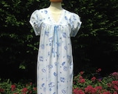 Vintage 1950s, 1960s handmade cotton nightie, nightgown, night dress. Pale blue with blue flowers & ribbon. Nightwear, loungewear, boudoir.