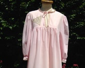 Vintage 1970s pale pink soft nylon night dress with long sleeves and lace detail. Baby Doll, Nightwear, Loungewear.