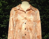 Vintage Handmade 1970s Nylon Blouse, Top, Shirt. Floral, Beige, Golden Brown, Long Sleeves.