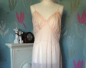 Vintage 1950s Pale Peach, Pink Silky Nylon Slip, or Nightie. Full slip, Petticoat. Lingerie, Underwear.