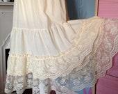 Vintage 1970s, 1980s Cream Waist Slip, Petticoat with Tiered Lace. Underwear, Lingerie