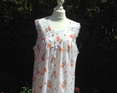 Vintage style nightie, night dress, baby doll with orange roses. Czarina, vintage nightwear.