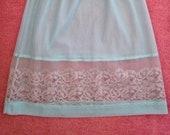 Vintage 1960s, 1970s Midi Waist Slip, Half Slip, Petticoat. Medium Skirt Length. Pale Turquoise with Lace Trim. Lingerie, Underwear.