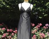 Vintage 1960s, 1970s black nylon & spandex full slip, petticoat, nightie. From St Michael, Lingerie, lounge wear, underwear, nightwear.