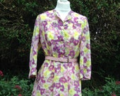 Vintage 1950s Handmade Summer Day Dress. Shirt-Waister, Floral, MidCentury. Purple and Yellow.