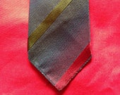 Vintage 1960s, Men's neck tie in red, green & blue grey stripes. Men's accessory, Folkespeare. Mod, Slim Jim.