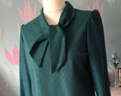 Vintage 1980s Teal Polyester Pussy Bow Blouse, Ladies Shirt. Tie Neck, Blue Green, Long Sleeves, Diamond  Pattern.