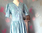 Vintage 1980s, 1990s Turquoise Cotton Dress by Emily Milsom of Norwich. Dropped Waist, Summer Dress