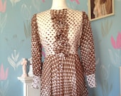 Vintage c. 1960s Geometric Pattern Dress, Brown and White. Mod, Ruffles, Long Sleeves, Handmade.
