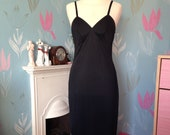 Vintage 1950s 1960s, black nylon full length slip, nightgown, evening dress. Lingerie, lounge wear, underwear.