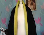 Vintage 1930s, 1940s Reversible Wrap, Shawl, Cape, Evening Wear, Black & Chartreuse
