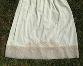 Vintage 1960s, 1970s Midi Waist Slip, Half Slip, Petticoat. Medium Skirt Length. Beige, Coffee Cream with Lace Trim. Lingerie, Underwear.