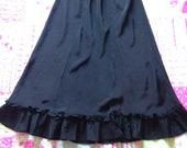 Vintage c. 1940s, 1950s Silky Black Petticoat, Waist Slip, Half Slip with Ruffle. Underwear, Lingerie. Miss Elaine.