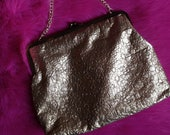 Vintage 1950s, 1960s Gold Purse,  Bag with Chain. Hand Bag,  Evening Bag,  Clutch, Vintage Accessory.
