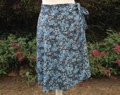 Vintage 1970s Cotton Wrap Round Style Skirt. Floral Skirt, Tie Waist. Bo Ho.