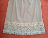 Vintage 1960s, 1970s Midi Waist Slip, Half Slip, Petticoat. Medium Skirt Length. Pale Blue with Blue & White Lace. Lingerie, Underwear.