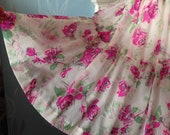 Vintage c. 1950s Handmade Full Skirt Layered Net Petticoat. Roses, Floral. Mid Century, Rock 'n' Roll.