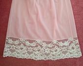 Vintage 1960s, 1970s Short Waist Slip, Half Slip, Petticoat. Mini Skirt Length. Pale Pink with White Lace. Lingerie, Underwear.