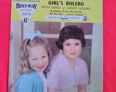 Vintage 1950s Knitting Pattern for Child's, Little Girl's, bolero, cardigan. Bestway, Angora, knitwear. Long or Short Sleeves.