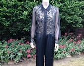 Vintage 1960s, 1970s Black Nylon & Lace Trouser Suit, JumpSuit. Sleepwear, Loungewear, Lingerie, Glamour. Vanity Fair.