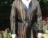 Vintage 1950s Men's Robe, Dressing Gown, Smoking Jacket. Bonds of Norwich & Dereham. Black and Gold Stripes.