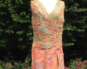 Vintage 1950s, early 1960s Mid Century Handmade Chiffon Dress. Wiggle Dress, Pencil Dress.