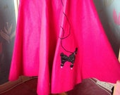 1950s style bright pink full circle skirt, poodle skirt. Rock 'n 'Roll, Jive Teddy Girl, Fancy Dress.