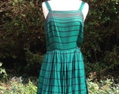 Vintage 1950s Mid Century Emerald Green Taffeta Dress with Black & Gold Lurex Stripes. Pleated Skirt, Straps, Party Dress.