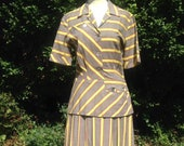Vintage 1950s Mid Century cotton striped shirt waister dress. Peplum, Button Detail. Made by Barbette. Tea dress, swing dress.