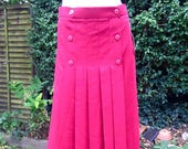 Vintage 1980s Red Discobond of London Pleated Skirt