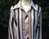 Vintage  1970s Ladies' Striped Blouse, Shirt, Top. Long Sleeves, Dagger Collar, Stripes.