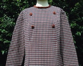Vintage 1960s, 1970s blouse, top, tunic, smock. Shades of brown.