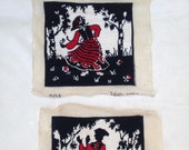 Pair of Vintage Tapestry, Embroidery Pictures. Dutch people, clogs, dancing. Red & Black. Homeware, Cushion Covers