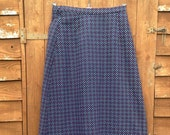Vintage 1970s 'Dereta' Wool Maxi Skirt, Red & White Pattern on Dark Blue, Fully lined