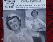 Vintage 1940s, 1950s Weldon's Knitting Pattern for Ladies' Angora Waistcoat & jumper. Pattern no. 898