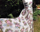 Vintage 1950s Mid Century Hand Made Floral Party Dress, Prom Dress. Maxi Dress, Full Skirt.