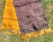 Vintage 1960s Tootal Grosvenor Scarf. Geometric Pattern, Gold Lining. Mod, Vintage Accessory.