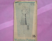 Vintage Weldons 1940s Utility Sewing Pattern for Ladies Stylish Dress, no. 157113