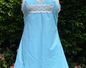 Vintage 1960s Pale Blue Nylon Full Slip from Prova with Lace & Floral Detail. Lingerie, Petticoat, Underwear.