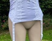 Vintage Style White Nylon Suspender Belt, Girdle. Autumn Leaf, Lingerie, Underwear, Pin-Up.