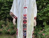 Vintage Kimono Style Robe, Wrap, Duster Jacket. Japanese, Oriental, Loungewear.