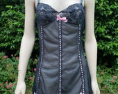 Vintage 1960s, 1970s Black and Pink Nylon Full Slip, Petticoat. Lingerie, Underwear, Retro Pin-Up.