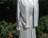 Vintage 1980s Two Piece Silver Dress and Jacket Suit from C & A. Grey, Silver, Pleated Skirt, Smart.